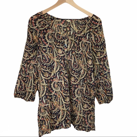 J Crew Paisley Print Long Sleeve Top Light Weight